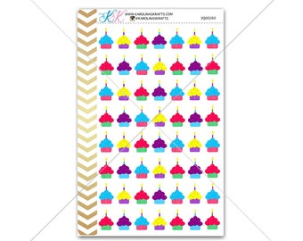 Birthday Cupcake Stickers for planner, calendar! Functional planner stickers party sticker functional sticker reminder sticker #SQ00260