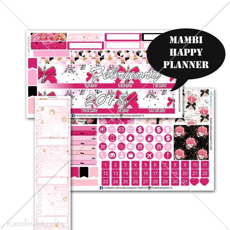 Valentine's Day Stickers MONTHLY Planner Kit for Mambi image 0
