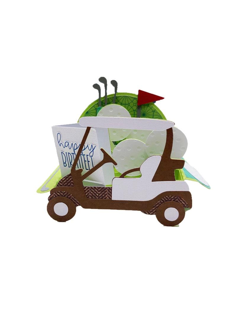 POP UP Golf Cart Box Card handmade birthday card handmade image 0