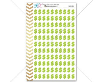Green money sign Stickers for planner, calendar! Functional planner stickers financial sticker functional sticker payday sticker #SQ00386
