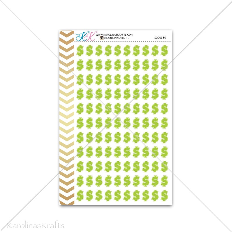 Green money sign Stickers for planner calendar Functional image 0