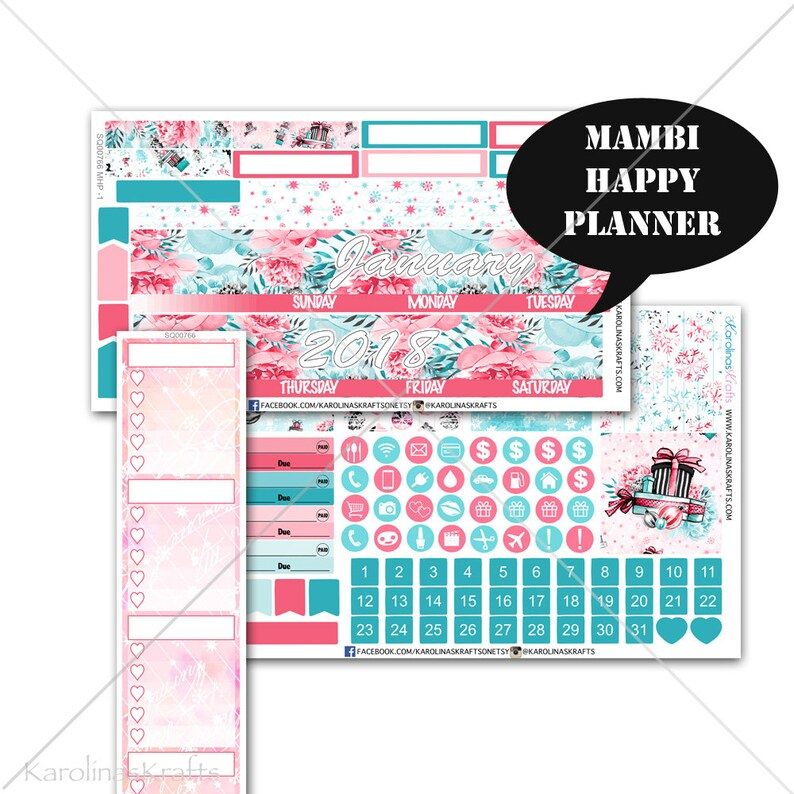 Winter MONTHLY Planner Kit Happy Planner Stickers Mambi image 0