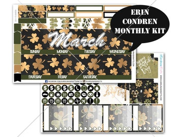 Saint Patricks Day Stickers MONTHLY Planner Kit, for Erin Condren Planner Stickers, Monthly Sticker Kit, March Sticker #SQ00012-EC
