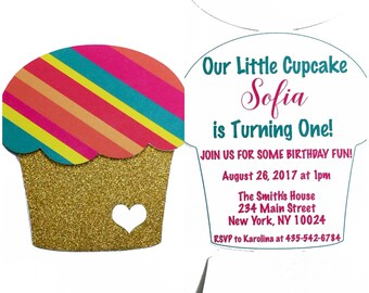 Cupcake Invitation Cards, Birthday Invites, Birthday Card, Birthday Party Invitation, Kids Birthday Invitation