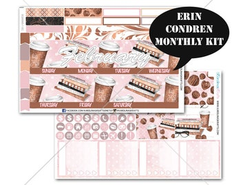 Coffee Stickers MONTHLY Planner Kit, for Erin Condren Stickers, Life Planner Sticker, Monthly Sticker Kit #SQ00065-EC