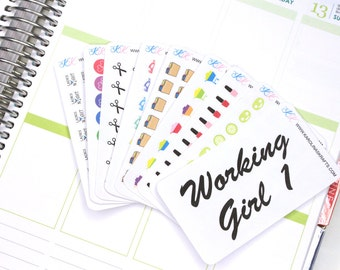 Itty Bitty Working Girl Stickers! Perfect for your Erin Condren Life Planner, Filofax, Plum Paper and other planner, scrapbooking! #SQ00871