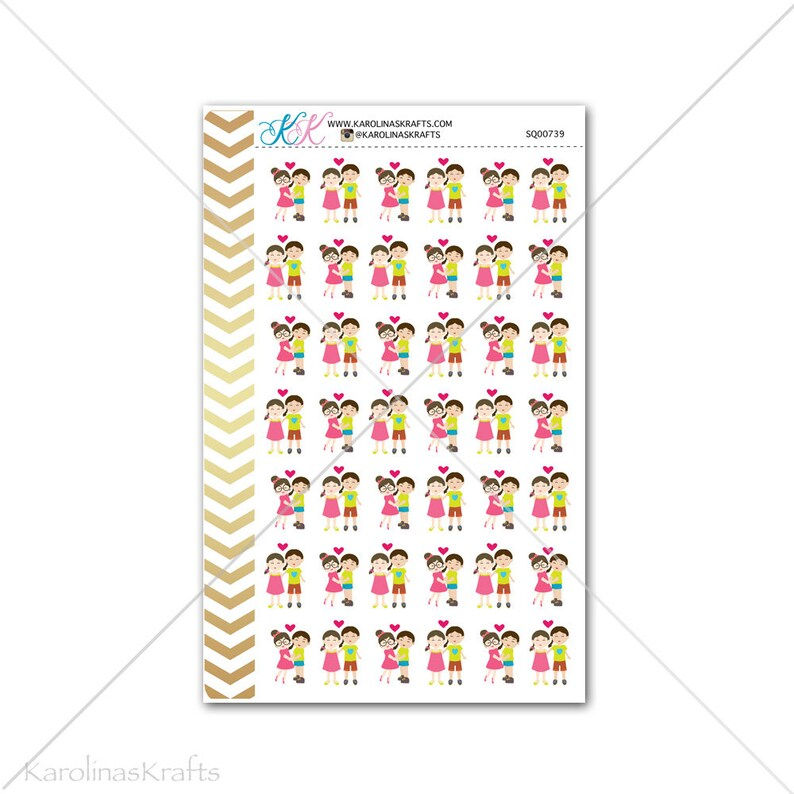 Girl Couple Date Night Stickers for planner calendar image 0