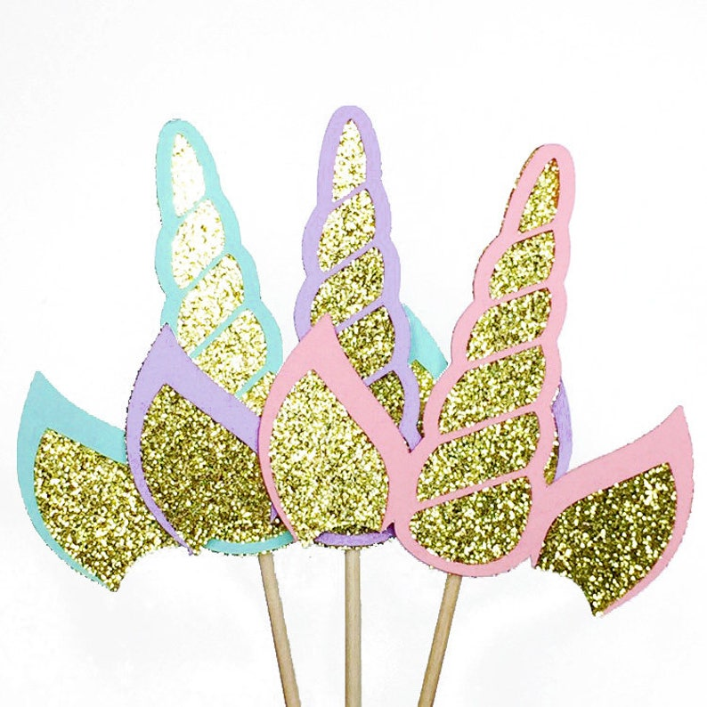 Unicorn Cupcake Toppers Unicorn Party Decorations Mystical image 0