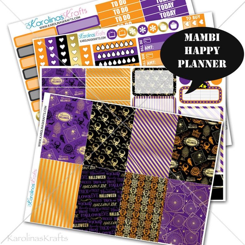 Gold Halloween Sticker Fall Planner Kit 200 Happy Planner image 0