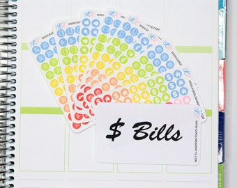 Itty Bitty Icon Bill Stickers! Perfect for your Erin Condren Life Planner, Filofax, Plum Paper and other planner, scrapbooking! #SQ00863