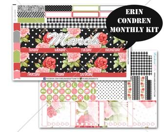 Rose Floral Stickers MONTHLY Planner Kit, for Erin Condren Stickers, Life Planner Sticker, Monthly Sticker Kit, flower kit #SQ0064-EC