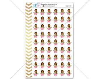 African American Yoga Girl Stickers for planner, calendar! Functional planner stickers functional sticker fitness sticker #SQ00652