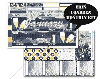 Celebration Stickers MONTHLY Planner Kit, for Erin Condren Planner, Life Planner Sticker, Monthly Sticker Kit, New Year kit #SQ00428-EC