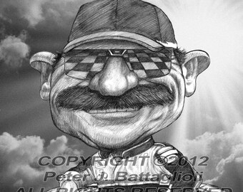 Lithograph Robert Simon Art Dale Earnhardt Sr /& Jr