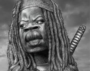 Walking Dead Michonne #2 Danai Gurira Caricature Art Poster Print