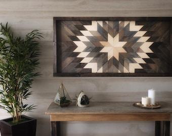 Wood wall art, reclaimed wood decor, wood art, modern wall decor, large wall art, farmhouse decor, living room decor, geometric wood art