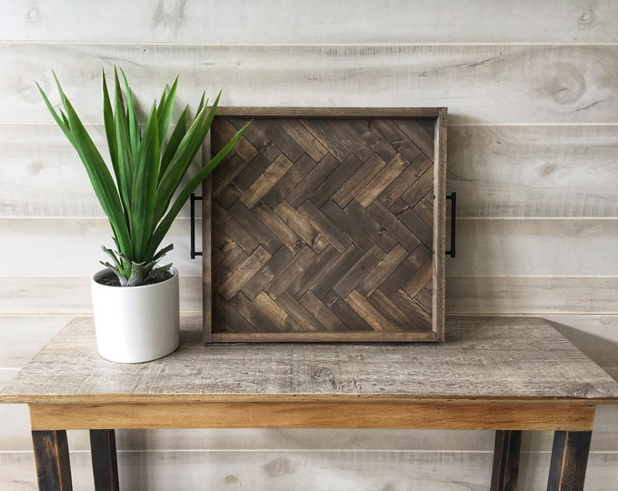 Featured listing image: Large wood serving tray, wood ottoman tray, herringbone tray, rustic serving tray, coffee table tray, modern farmhouse decor, gift for her