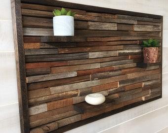 Reclaimed Wood Wall Art, Wood Wall Decor, Rustic Art, Modern Farmhouse,  Rustic Wall Decor, Tobacco Sticks