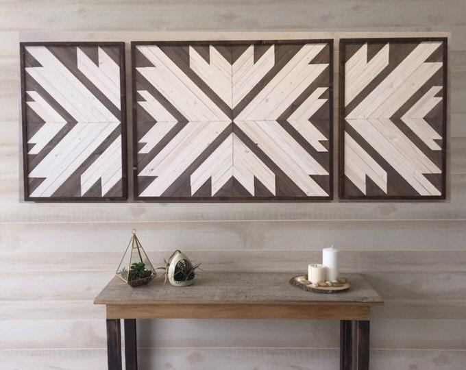 Featured listing image: Wood wall art, wood wall decor, living room decor, modern wall art, reclaimed wood wall art, boho decor