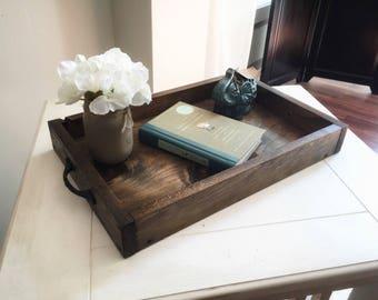 Genial Rustic Wooden Ottoman Tray   Decorative Tray   Coffee Table Tray    Farmhouse Decor   Wooden Tray