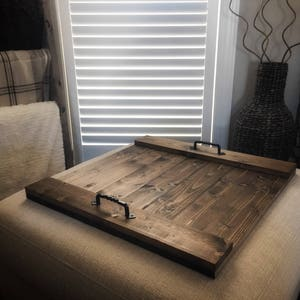 Wood Serving Tray Large Ottoman Tray Rustic Serving Tray