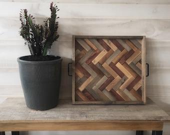 Oversized ottoman tray, herringbone tray, wooden serving tray, coffee table tray, farmhouse decor