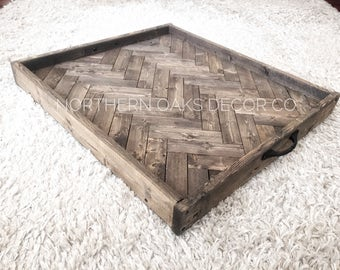 Large wood serving tray, wood ottoman tray, herringbone tray, rustic serving tray, coffee table tray, farmhouse decor, gift for her