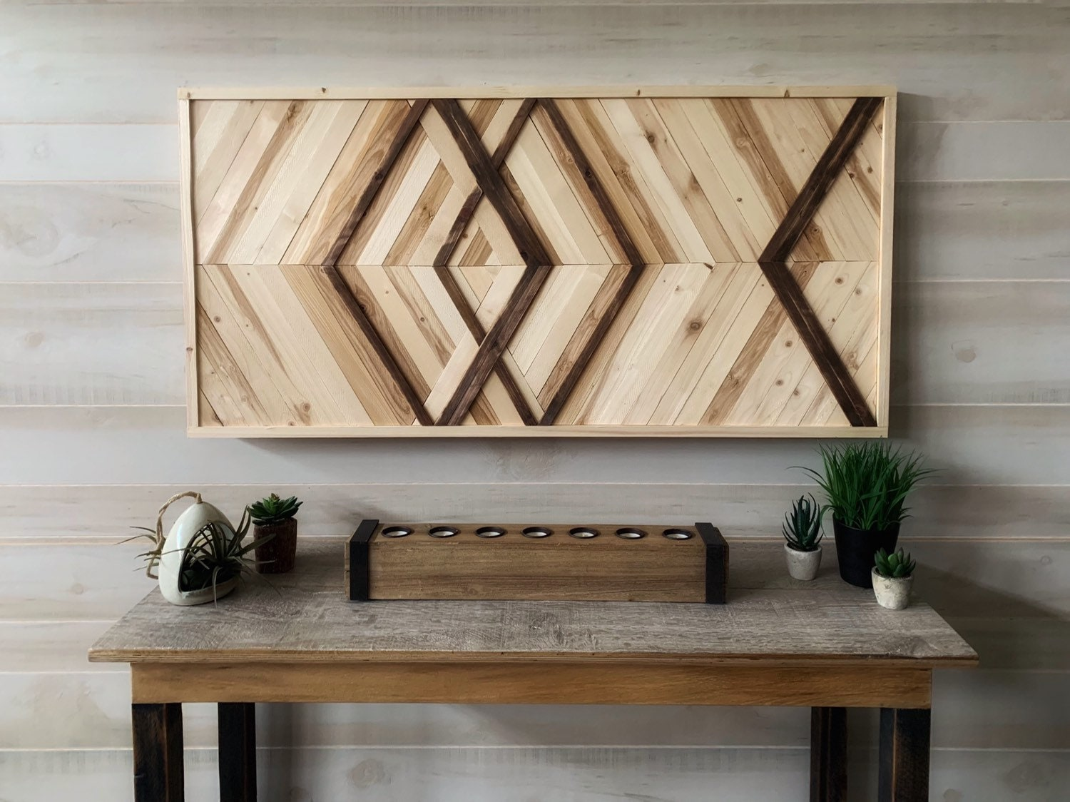 Wood wall art, reclaimed wood art, geometric art, modern wall art ...
