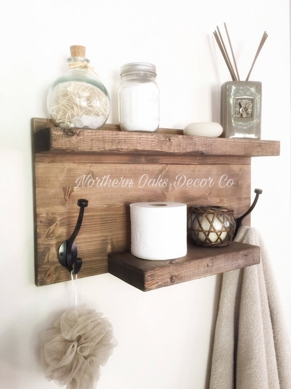 Rustic Bathroom Shelf Rustic Wood Shelf Towel Rack Entryway | Etsy
