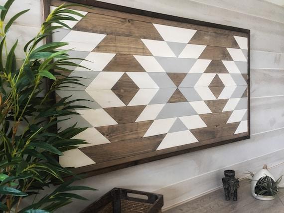 Wood wall art geometric art boho decor Aztec decor | Etsy