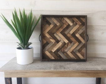 Wood serving tray, large ottoman tray, rustic serving tray, herringbone tray, coffee table tray, farmhouse decor, gifts for her