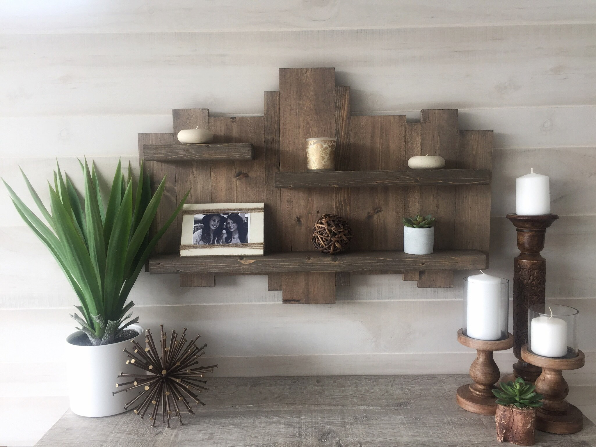 Rustic wall shelf reclaimed wood wall shelf pallet shelf floating shelf wood wall art rustic decor modern farmhouse decor