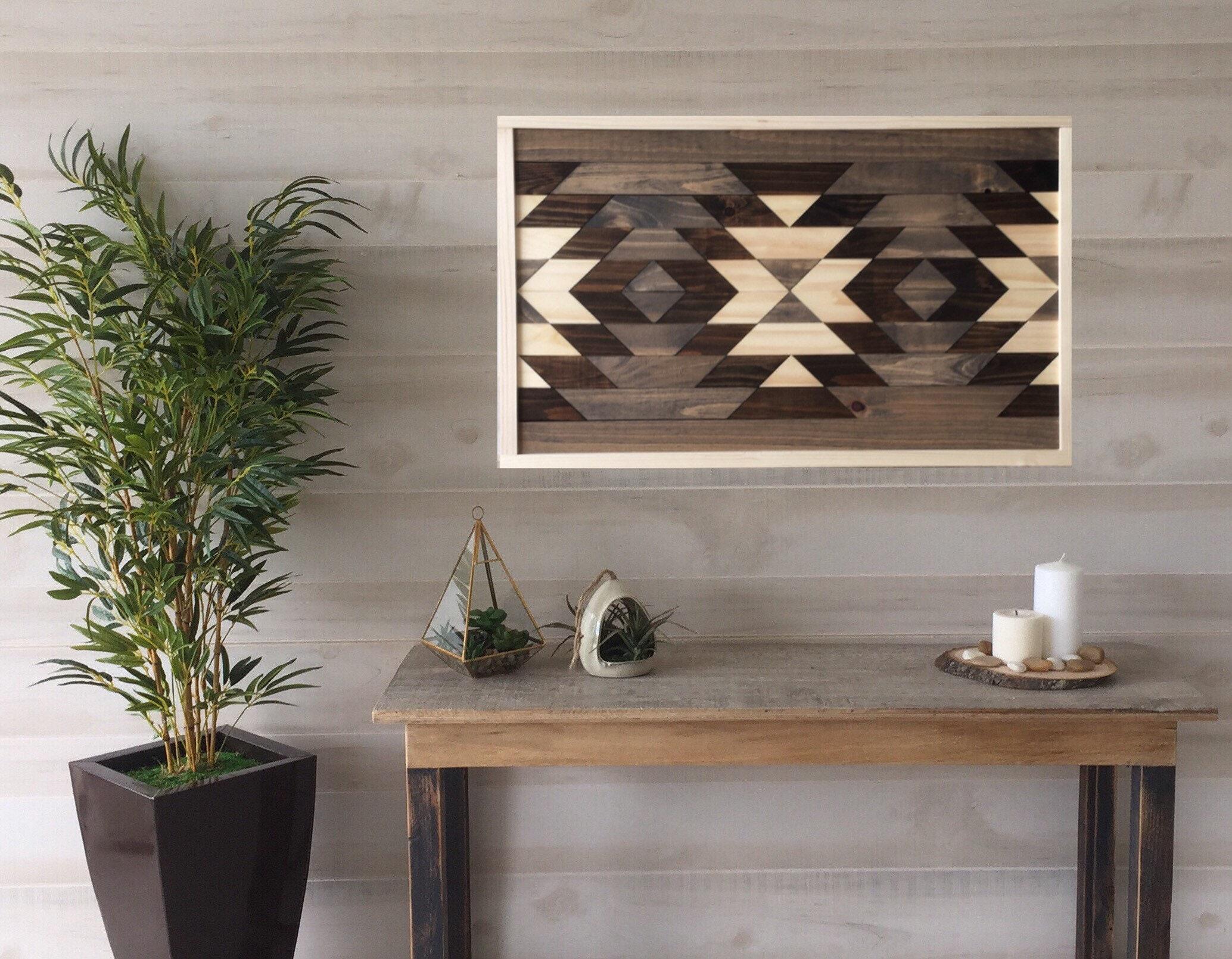 Wood Wall Art Geometric Art Boho Decor Aztec Decor Farmhouse