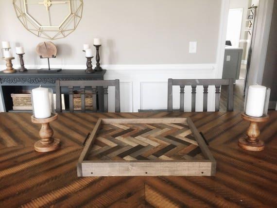 Swell Wooden Serving Tray Oversized Ottoman Tray Herringbone Tray Coffee Table Tray Breakfast Tray Farmhouse Decor Dailytribune Chair Design For Home Dailytribuneorg
