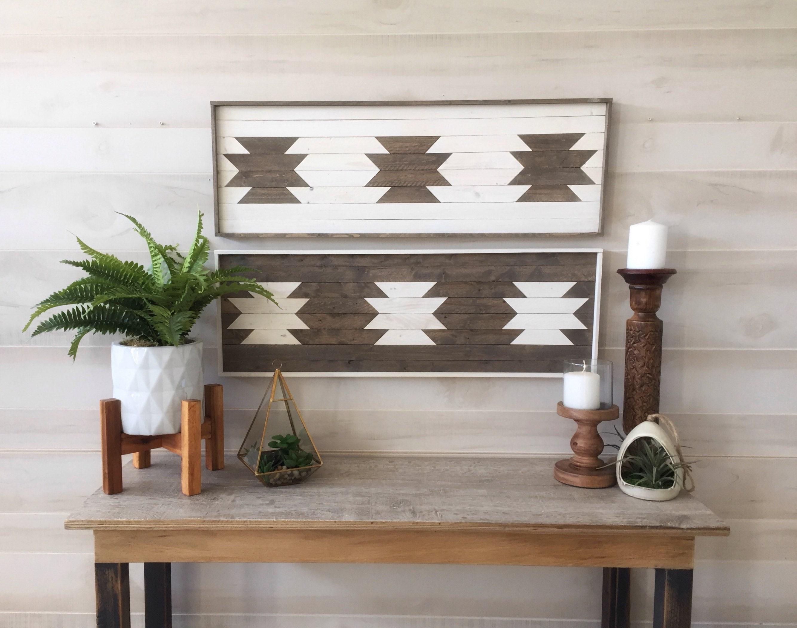 Wood wall art, reclaimed wood wall art, aztec art, living room decor ...