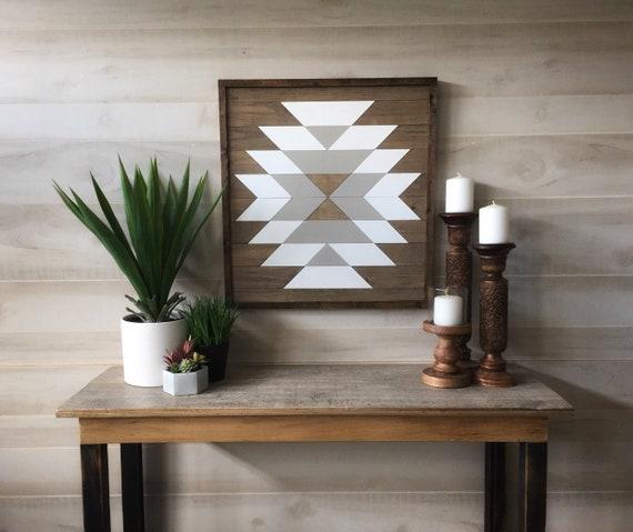 Wood wall art wood wall decor geometric wall art boho | Etsy