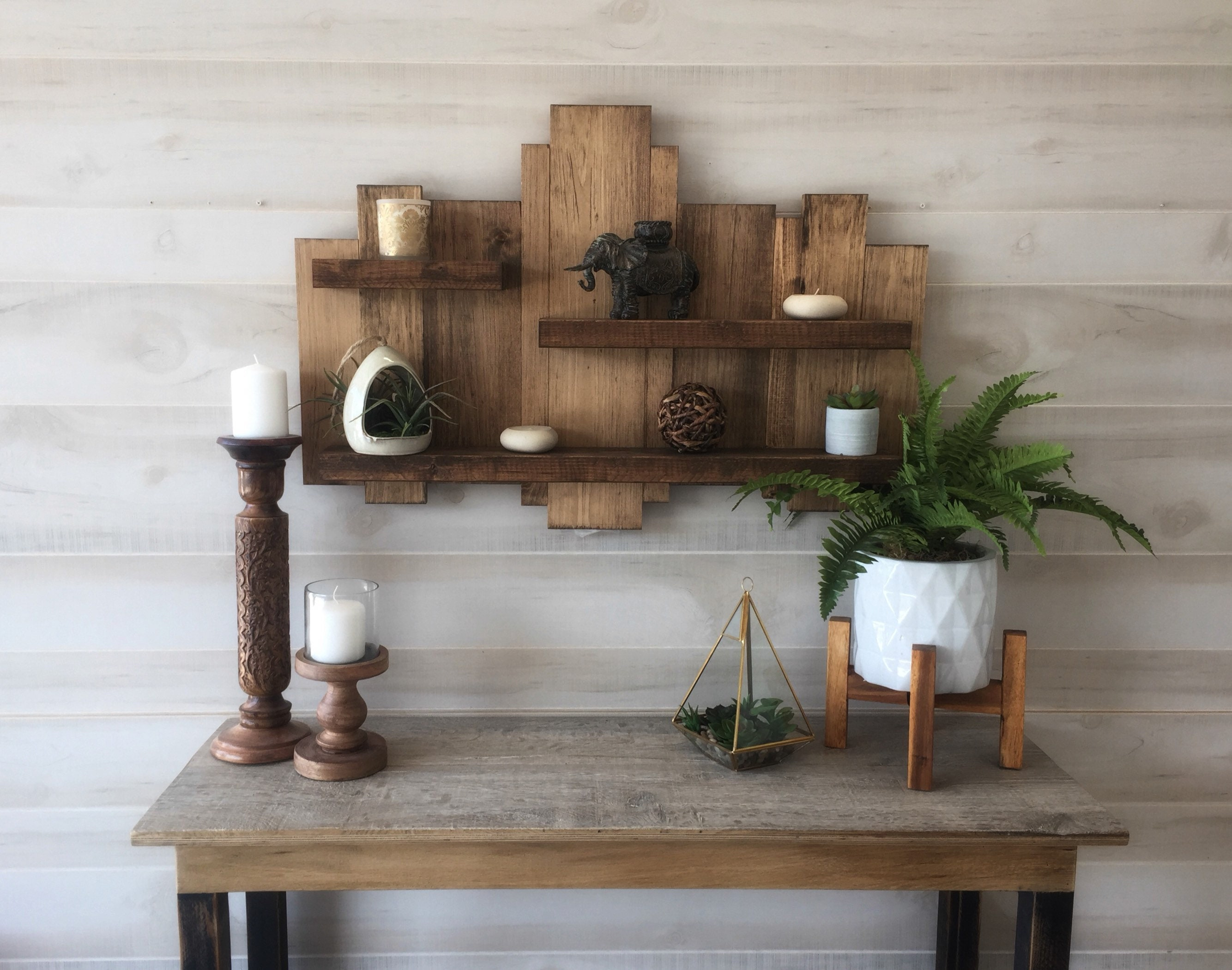 handmade wooden home decor rustic home decor wall art reclaimed pallet shelves wooden home Northern Oaks Decor Co