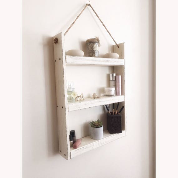 Hanging Bathroom Shelves Custom Rope Hanging Wood Shelf Bathroom Shelf Rustic Shelf Spice Etsy