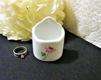Jewelry Storage Kitchen Ring Holder White Porcelain With Flower Design Rings And Things Made In Japan Bone China Wall Hanging Trinket Holder Jewelry