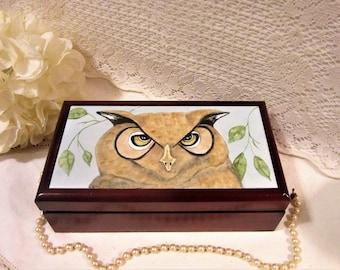 Owl Wood burned Jewelry Box Small Owl Trinket Box Owl Wooden Keepsake Box