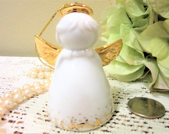 CIJ Angel Christmas Ornament Bell Personalized Gold White Porcelain Ceramic blm