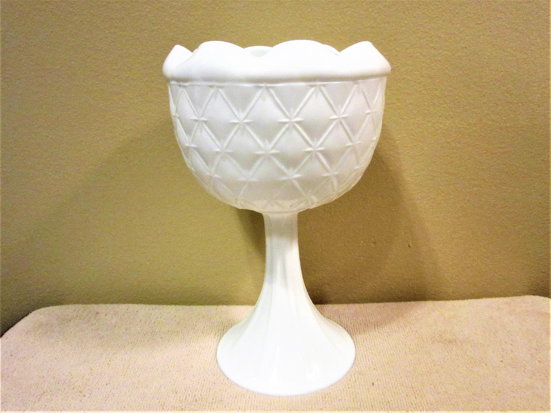 zoom Compote Milk Glass Quilted Pedestal Vintage