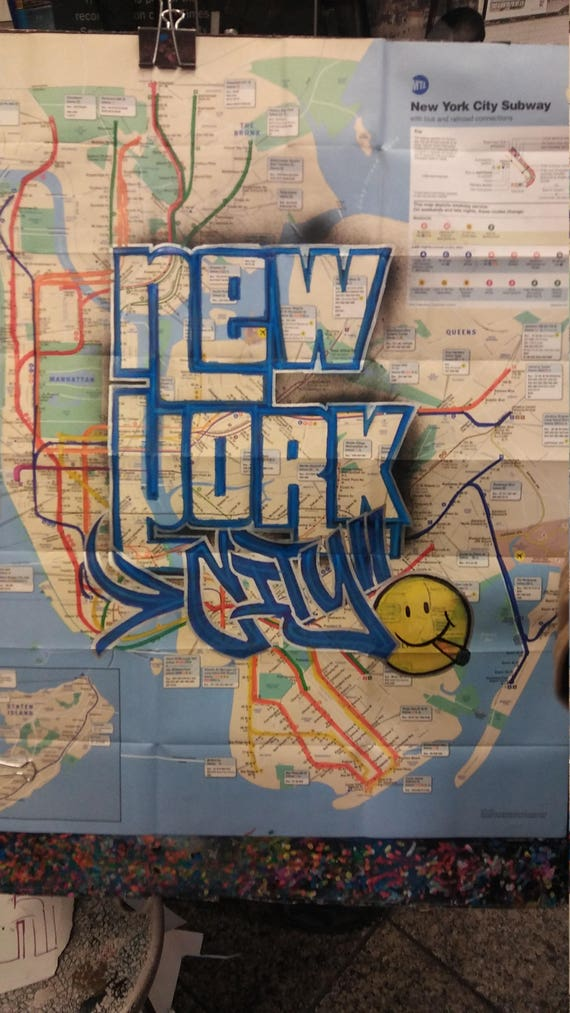 New York City Subway Map With Street Names.Custom Street Art Ny Subway Map Etsy