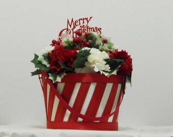 christmas floral arrangement merry christmas holiday decoration christmas planter christmas decor christmas floral holiday decor