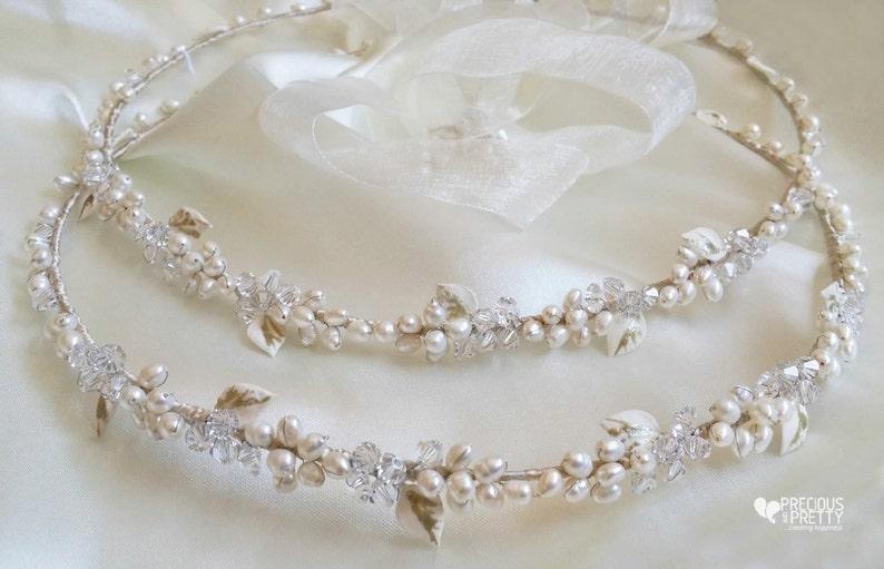 White Stefana wedding crowns Greek stefana orthodox wreaths Stephana handmade Pearls stefana wedding ceremony Bridesmaid gifts Couple tiara