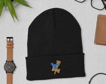 Blue Under Bird Kendama Embroidered Knit Beanie