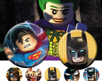 """Lego movie -  25 mm One 4x6 high-resolution, 300dpi, JPEG file with 15 1"""" Circle images."""