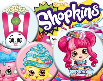 """Shopkins - - 25 mm One 4x6 high-resolution, 300dpi, JPEG file with 15 1"""" Circle images."""