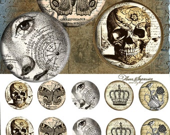 """Vintage skull 25mm -  One 4x6 high-resolution, 300dpi, JPEG file with 15 1"""" Circle images."""