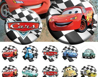 """Cars Disney 25 mm - One 4x6 high-resolution, 300dpi, JPEG file with 15 1"""" Circle images."""